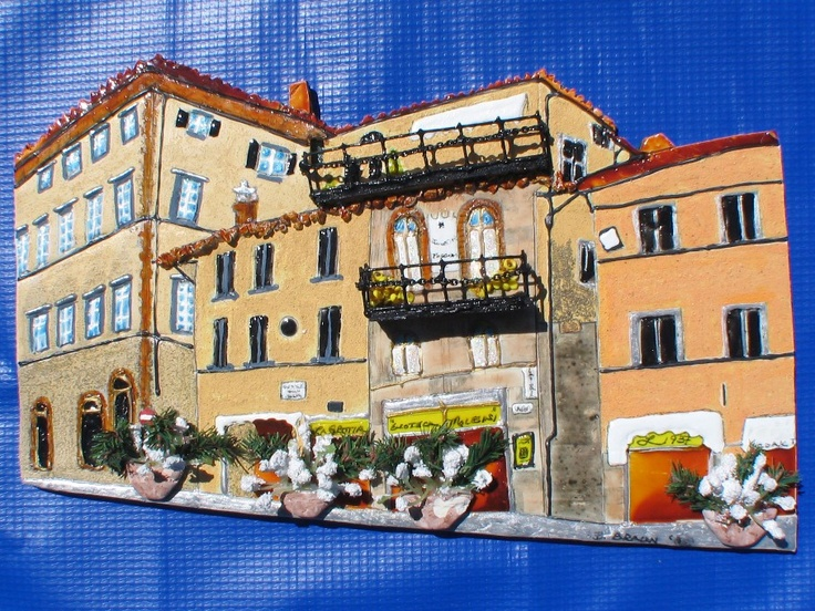 Italian street scene by Barb.  Made from Sculpy.