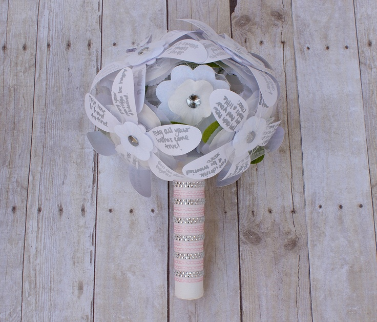 cute idea for the hen night - each person gets a flower and writes memories, wishes and good luck messages for the bride. the bride can then use it at the rehearsal :)
