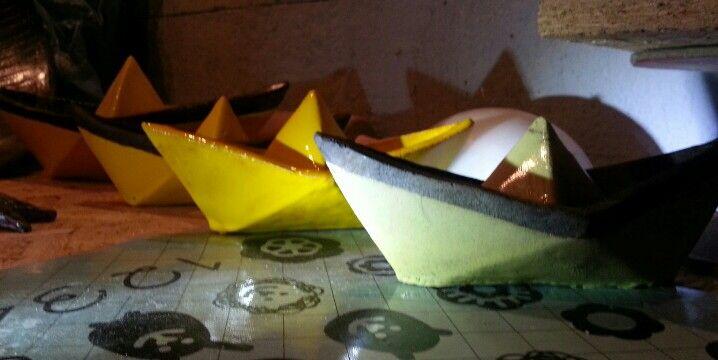 Ceramics origami yellow boat