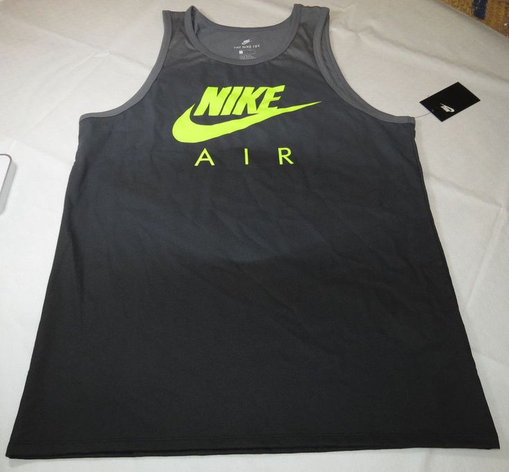 Nike The Nike TEE Mens XL xlarge shirt tank top 847584 065 charcoal yellow NWT #Nike #tanktop