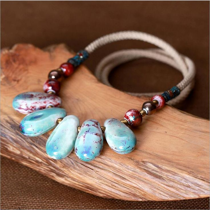 Classic Chinese Ethnic Nature Ceramic Necklace Irregular Porcelain Stone Charm Necklace Banquet Jewelry