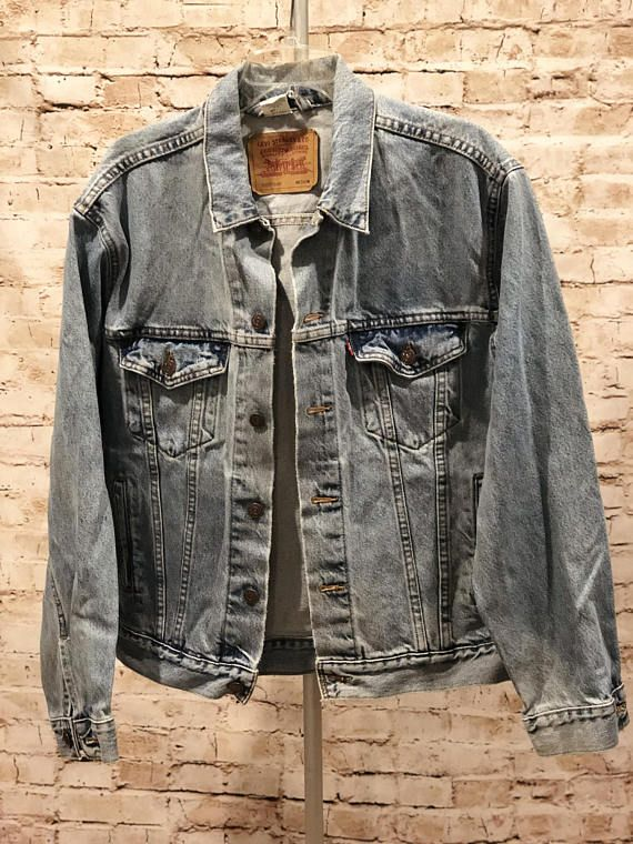 Vintage 90s Stonewashed Levi Trucker Denim Jean Jacket With Images Denim Jacket Fashion Denim Jean Jacket Levi Denim Jacket