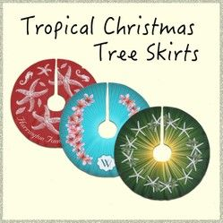 Tropical Christmas tree skirts with starfish, seashells, floral designs, and custom text / monograms.  Personalize for a holiday celebrated in a warm climate.