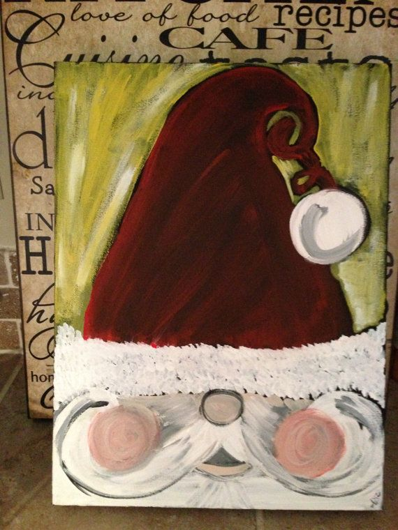 Hand painted Santa Claus canvas  by AddieReeseDesigns on Etsy, $30.00