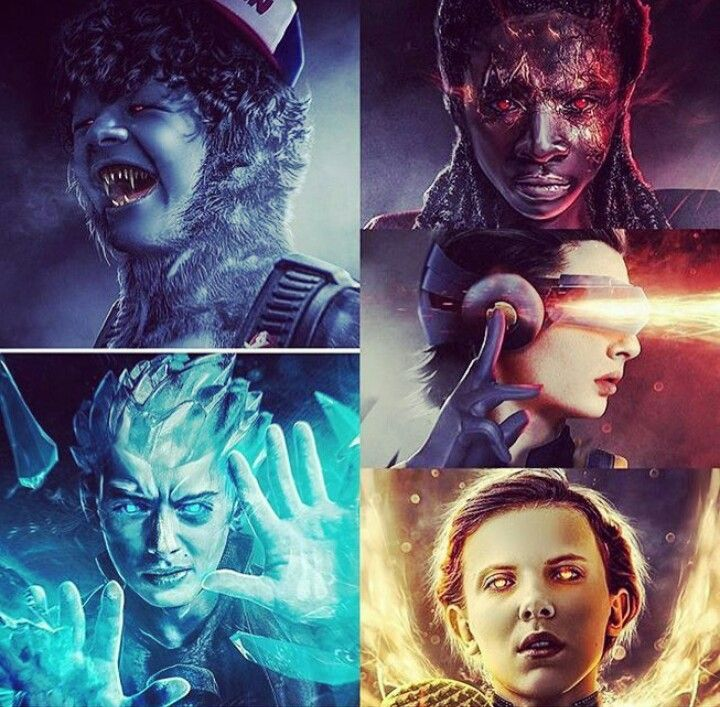 Stranger Things' characters as X-Men. Dustin as Beast, Will as Ice Man, Lucas as Bishop, Mike as Cyclops, and Eleven as Jean Grey/Phoenix.
