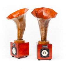 The Hornlets can be paired with our Satellite/Subwoofer unit for a perfect system to use with any sound source (i.e. iPod, cd player, radio etc.). They can also be used with any of our hi-fi tube amplifiers for a beautiful symbiosis. Or they can be paired with virtually any other system and achieve excellent results. Perfect for home theater use! #audio #music #sound #speakers