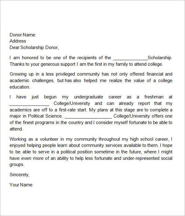 Thank You Scholarship Letter Sample Fresh 13 Sample Scholarship