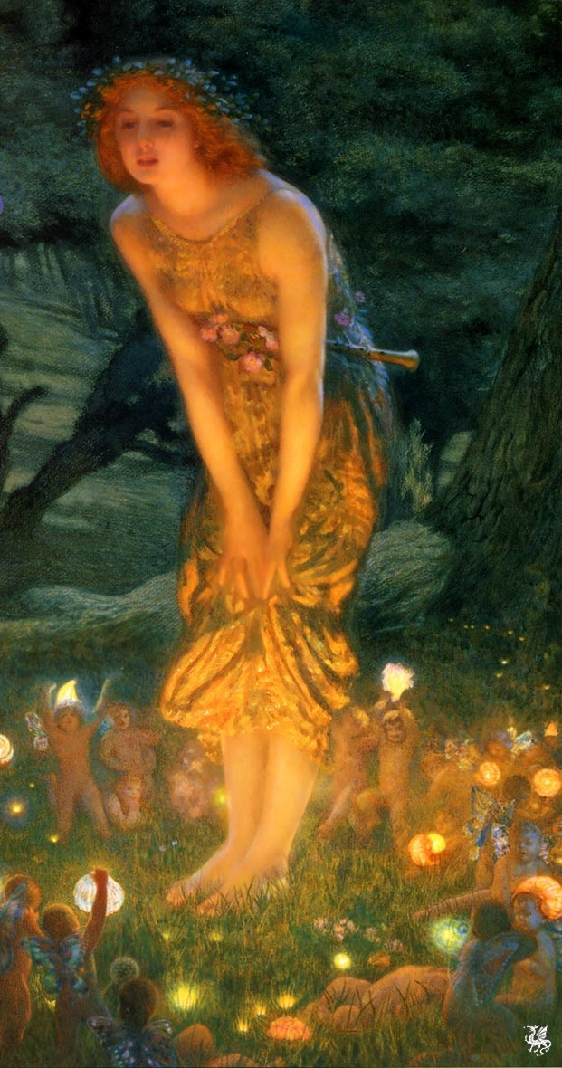 "Edward Robert Hughes - Midsummer Dream c.1908 - ""The Faeries went from the world, dear, because men's hearts grow cold, and only the eyes of the children see what is hidden from the old and only the majick of love, dear, can ever turn the key that unlocks the gates of Fae and set the Sidhe free.""  —Unknown"