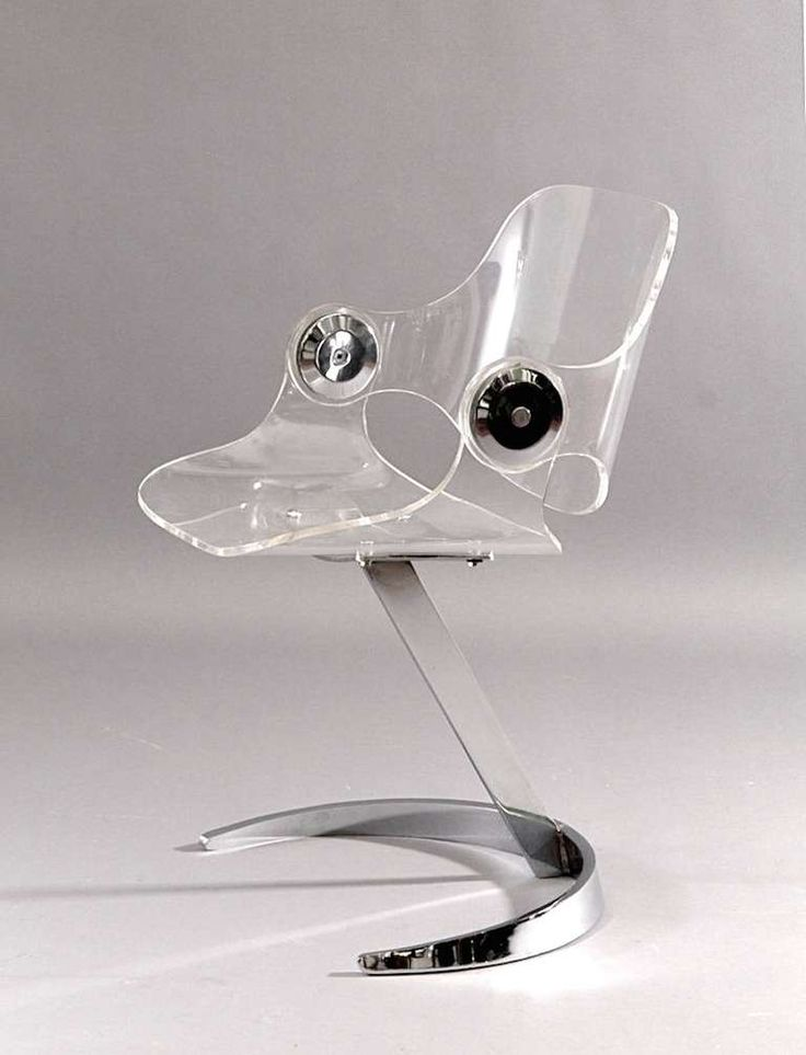 Boris Tabacoff; Lucite and Chromed Metal Dining Chair for Mobilier Modulaire Moderne, 1971.