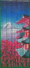 Bamboo Bead Curtain Room Divider Oriental Pagoda Fuji Wall Hanging Door Panel