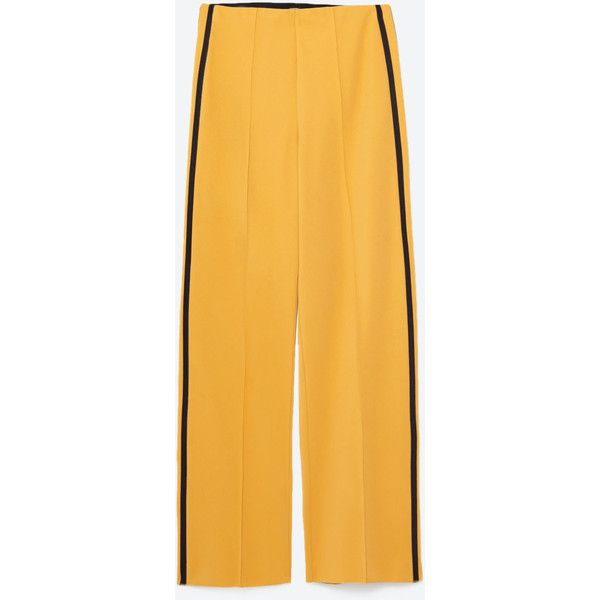 SPORTS TROUSERS WITH SIDE BAND - TROUSERS-WOMAN   ZARA United States (75 270 LBP) ❤ liked on Polyvore featuring pants, sport pants, sports trousers, sport trousers, sports pants and yellow pants
