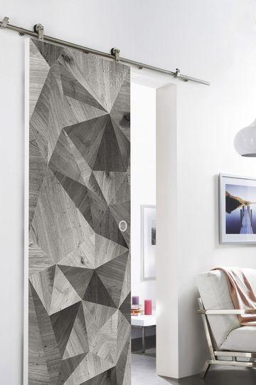 Une porte coulissante en applique créative - 15 portes coulissantes belles et fonctionnelles - CôtéMaison.fr