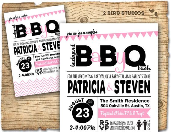 Baby Q Baby shower invitation barbecue BBQ baby by 2birdstudios