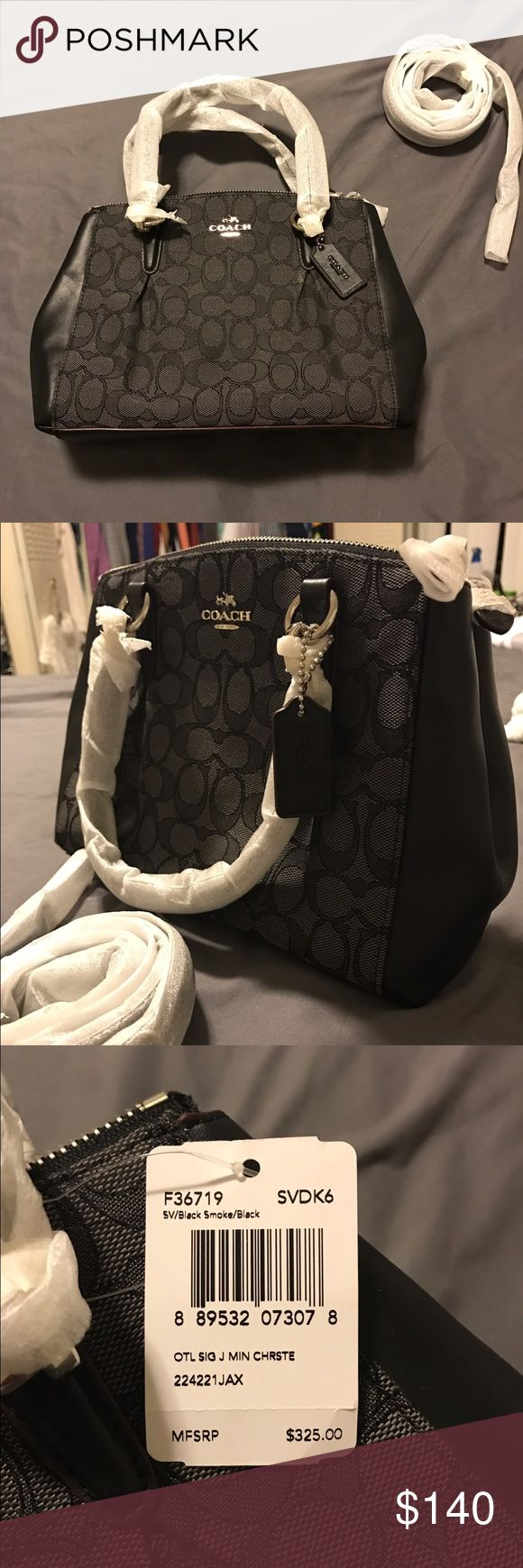 New with tags black Coach purse Brand new with tags attached Coach purse. Comes with handles or cross-body strap. Black signature Coach pattern and leather. Both inside and outside pockets. Coach Bags Crossbody Bags