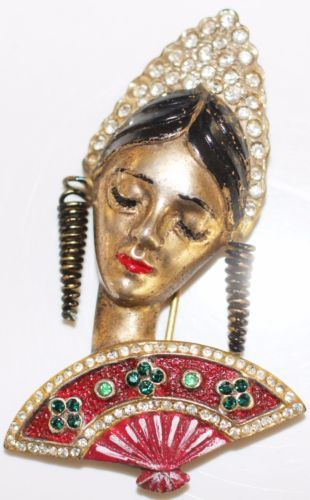 VINTAGE-CORO-UNSIGNED-SPANISH-GIRL-COURTIER-STERLING-ENAMELED-DECO-BROOCH