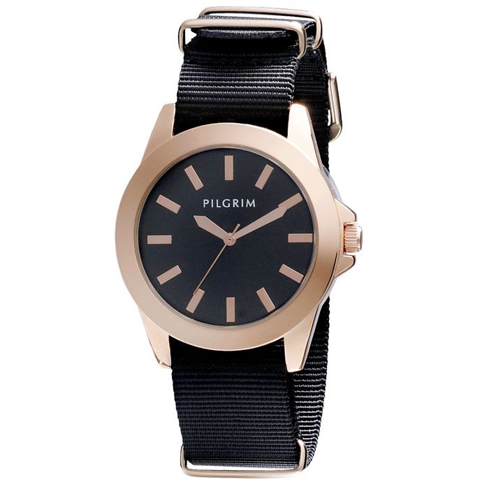 Pilgrim Rose Gold Plated Black Nylon Strap Watch Now £39.99 http://www.lizzielane.com/product/pilgrim-rose-gold-plated-black-nylon-strap-watch/