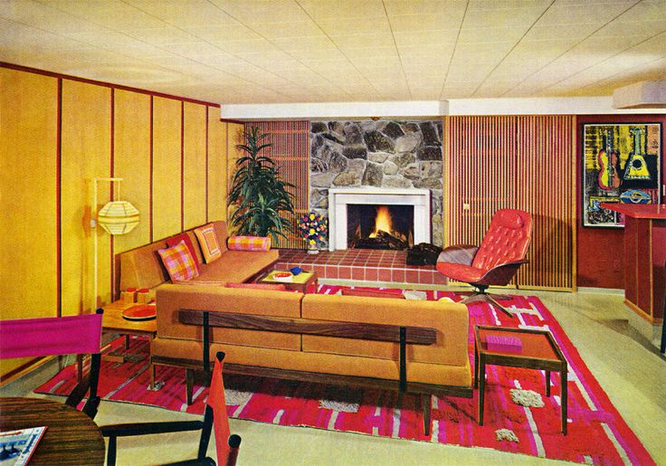 Fanciful 1960s living room illustration with hanging Chinese lamp and long, low sofas.