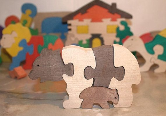 Wooden Puzzle Bears. Handmade puzzle game that develops motor skills. Kids toy. Wooden eco friendly toys for children.