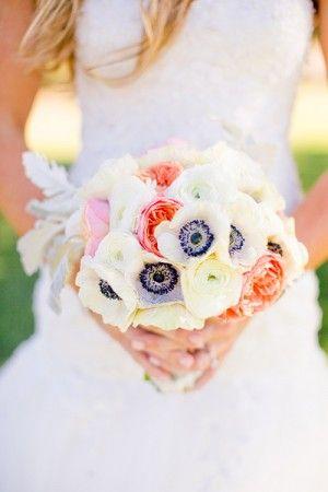 Bright peony-anemone bouquet
