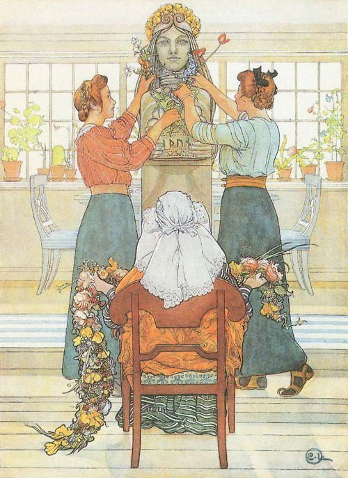 portailblog: 1912Carl Larsson (Swedish Arts and Crafts painter; 1856-1919) ~ Célébration des 25 ans d'Idun['Celebrating 25 years of Idun' - Idun is the Norse Goddess of Spring(source: Suède)