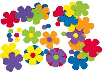 Foam Flowers. Brightly coloured foam flowers to add to any craft project or card.