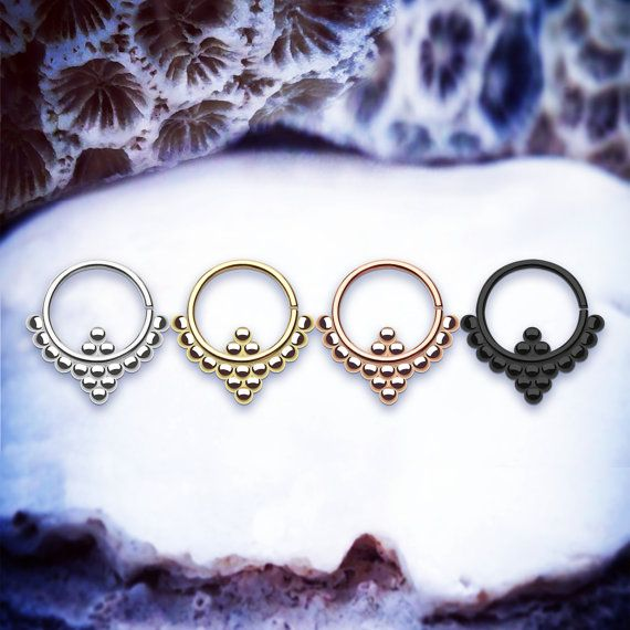 Maya Cute Septum Ring | 16G 1.2mm Tribal Cartilage Earring Helix Piercing Small Daith Piercings Ornate Tragus Hoop Dotted Nose Ring Rook love septum piercing love septum jewelry love septum jewellery love www.throwbackannie.com ! Discount code: PINTEREST ! Septum piercing and nose piercing like rihanna style and fashion trend for autumn/winter 2016 love cute septum piercing and septum piercings