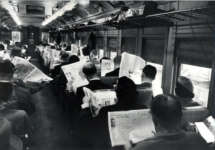 A commuter train in the UK (1953).