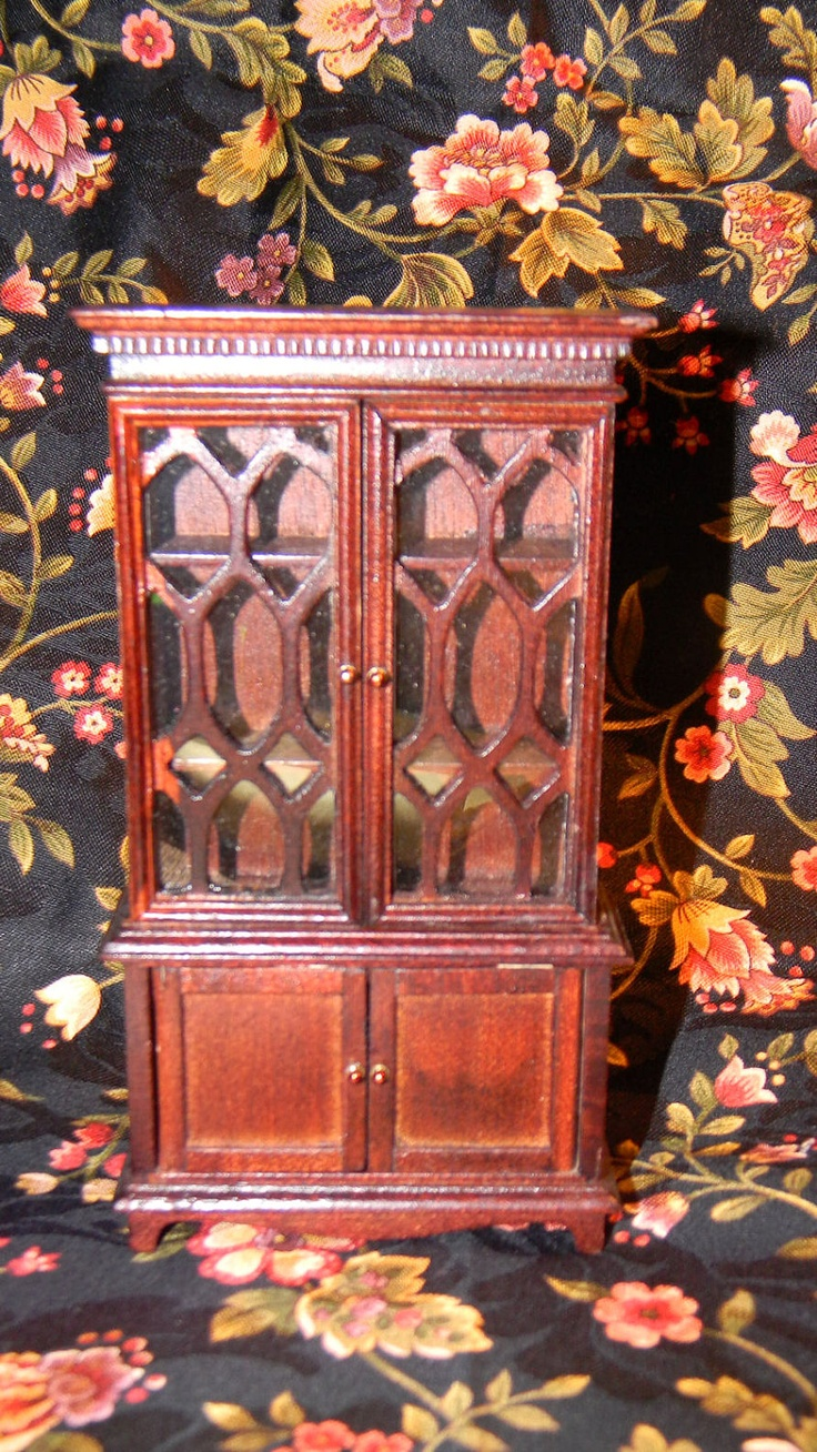 Dollhouse China Cabinet - Depression Duncan Phyfe Style - Miniature 1 12th  Scale