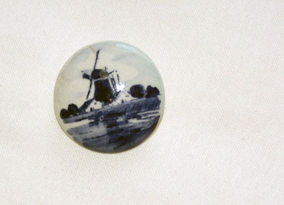 Vintage Delft Pin Blue Holland with Windmill by IntoTheWardrobe, $8.00