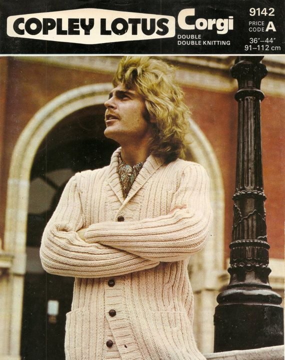 This is a PDF download of an original 1977 knitting Pattern.    Copley Lotus DK Mens Cardigan Knitting Pattern.