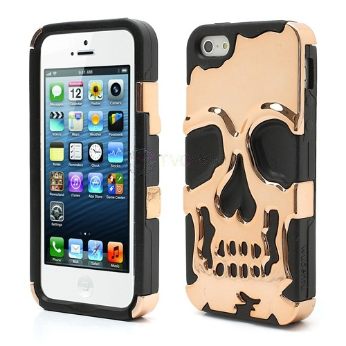 Wholesale New Skull Head Soft Silicone Hard Plating Hybrid Case for iPhone 5 - Black / Coppery - iPhone 5 Hard Cases