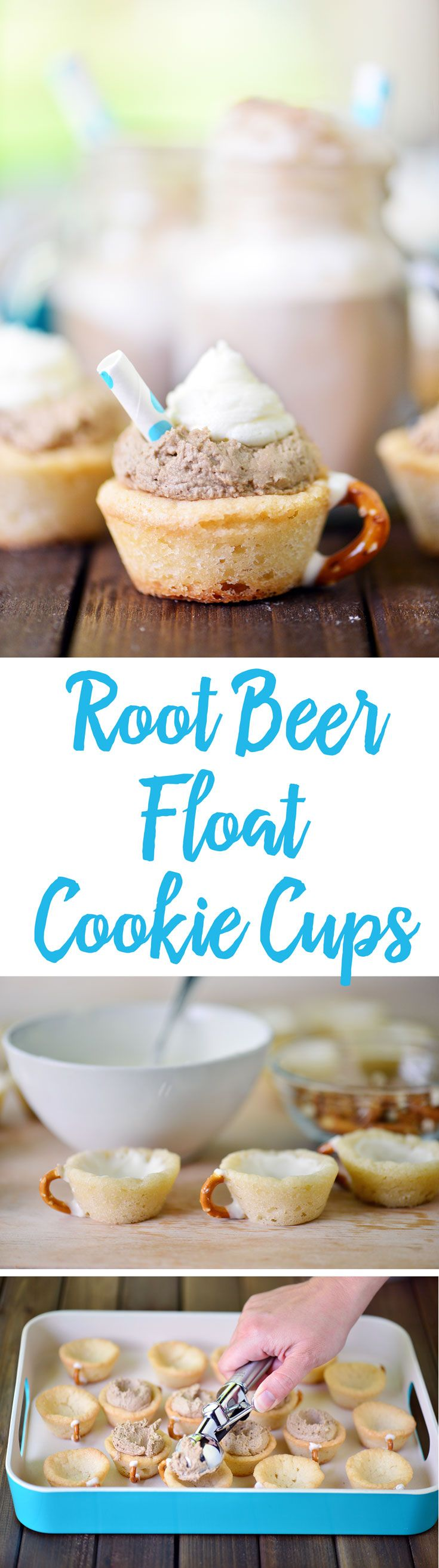 This Root Beer Float Cookie Cups recipe is perfect for a summer dessert! Make with root beer buttercream frosting or vanilla ice cream and root beer!