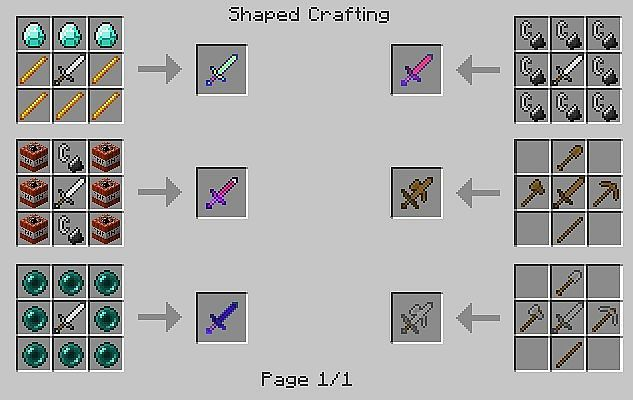 Pc Minecraft How To Craft Wooden Sword