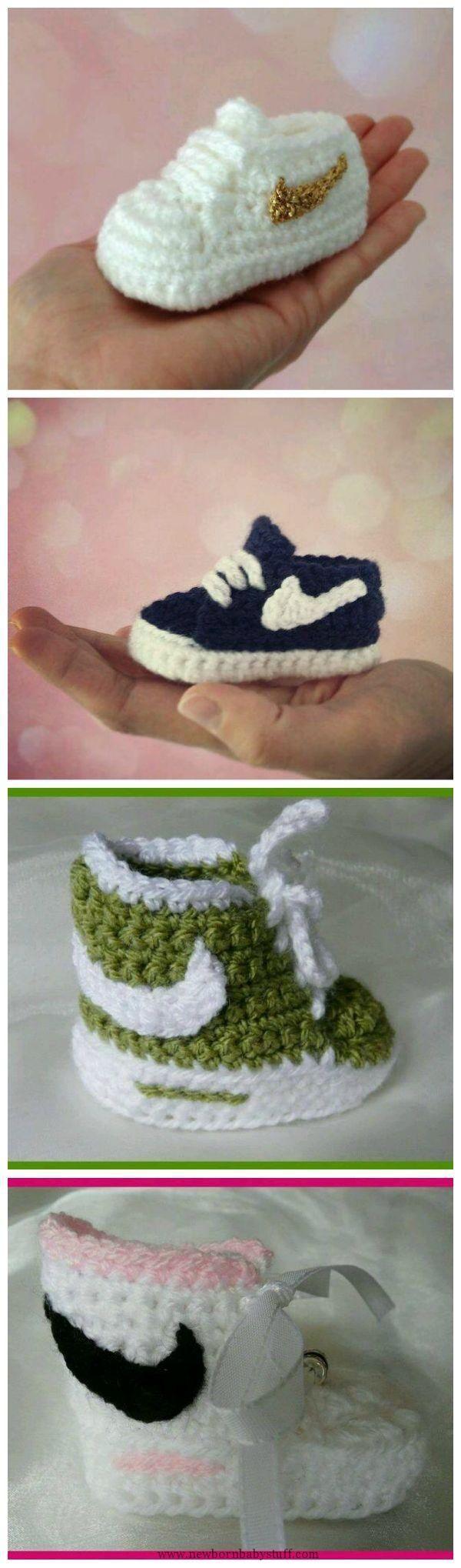 Crochet Baby Booties How to Crochet Nike Inspired Baby Booties...