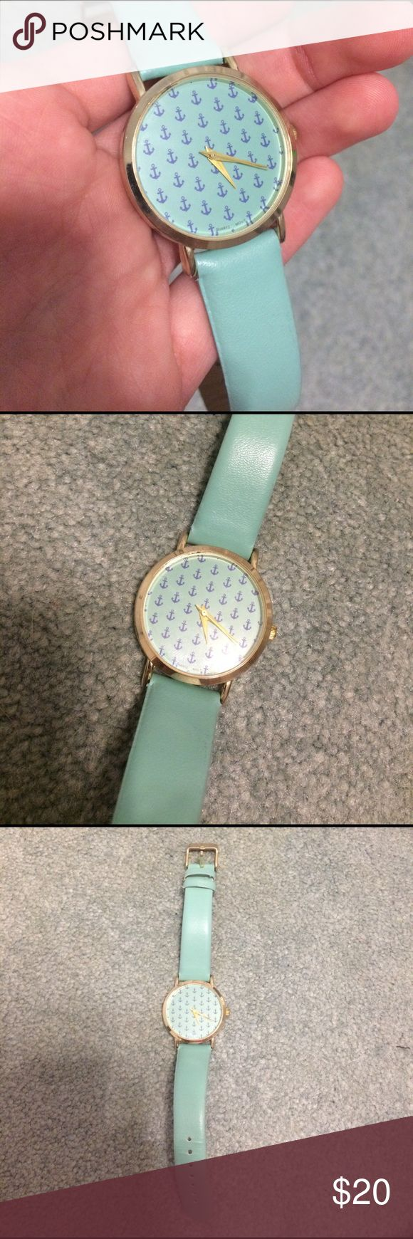 Anchor Watch Cute Anchor watch! Fake leather material and is for fashion purposes only. Nothing industrially made or anything. Accessories Watches