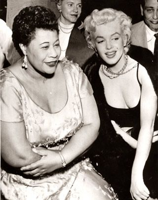 Marilyn pushed for her fave singer Ella Fitzgerald to play at the prestigous Mogambo nightclub, & promised to sit in the front row opening night, which she did. She was very influential in helping Ella's career. (Please follow minkshmink on pinterest)