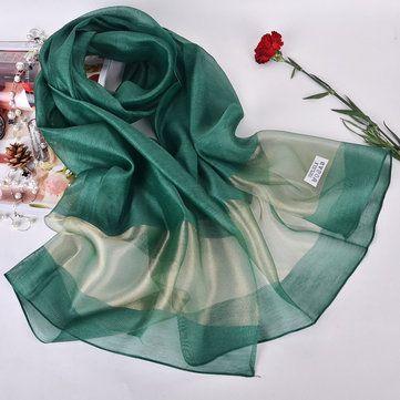 Women Soft Silk-Satin Scarves Solid Color Long Sunscreen Beach Towel Shawl at Banggood