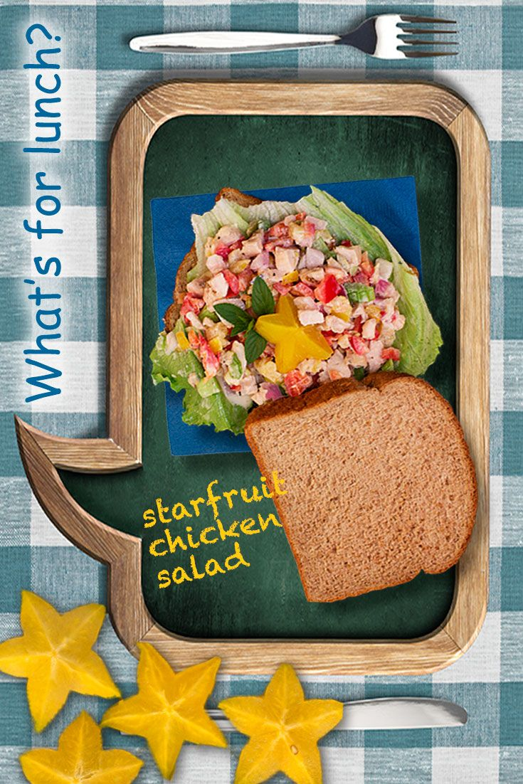 What's for lunch? Pack a starfruit chicken salad sandwich. Florida starfruit are in season. What a way to make lunch the meal of the day. Recipe... http://www.brookstropicals.com/nutrition/starfruit_11.html