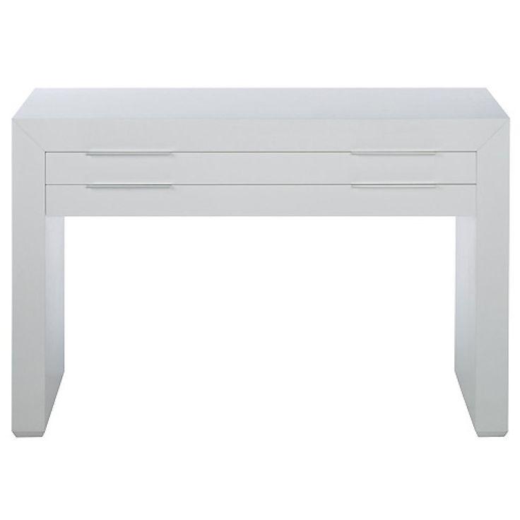 Mesa blanca lineas rectas con dos cajones mesas - Mesa consola ikea ...