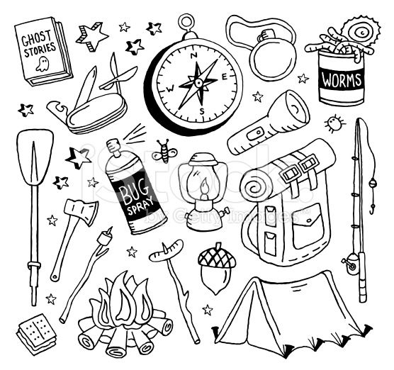Camping Doodles royalty-free stock vector art