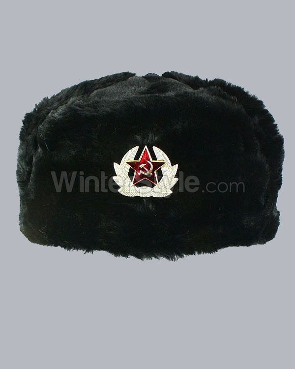 Black Faux Fur Russian Winter Hat with Badge: Russian Winter, Faux Fur, Black Faux, Russian Hats, Fur Russian, Winter Hats