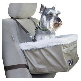 Perfect for taking trips in the car with your four-legged friend, this faux sheepskin-lined pet booster seat features 2 safety leashes for comfort and security.        Product: Pet booster seatConstruction Material: Faux sheepskin, faux leather and metalColor: Beige and creamFeatures:  Medium is suitable for pets up to 12 lbsLarge is suitable for pets up to 18 lbsExtra large is suitable for pets up to 25 lbsTwo safety leashes includedFront storage pocketWorks in backseat Dimensions: ...