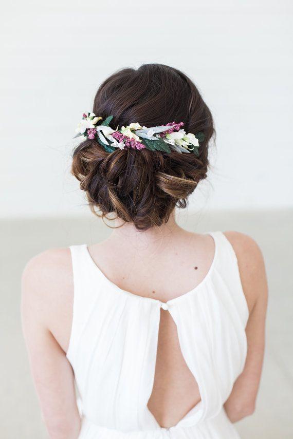 Blumen Haar Kamm Floral Halo Braut Haar Kranz von GildedShadows