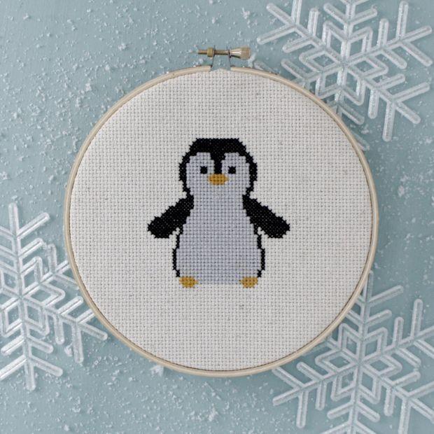 free penguin cross-stitch pattern