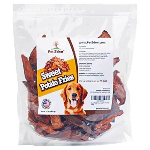 Sweet Potato Dog Treats Made in USA Only by Pet Eden Best Grain Free Natural Healthy Chews for Dogs 1 lb Free of Fillers No Additives No Preservatives Premium Quality Gourmet Snacks for All Dogs