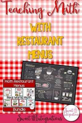 Real-World Math activities with restaurant menus for your math centers; Your students can learn how to calculate orders, estimate, use a spreadsheet and more.
