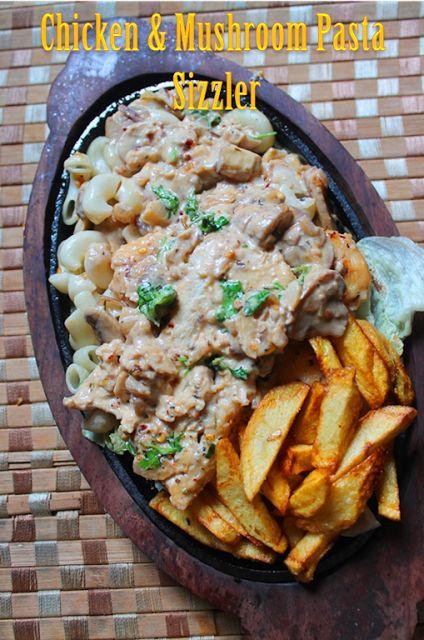 YUMMY TUMMY: Chicken & Mushroom Pasta Sizzler Recipe - Pasta with Chicken & Mushroom Sauce Recipe - Continental Food 5