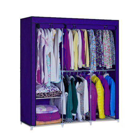 Portable Clothes Storage  Organizer  Wardrobe Clothing Rack Closet Storage With Hanger SMT