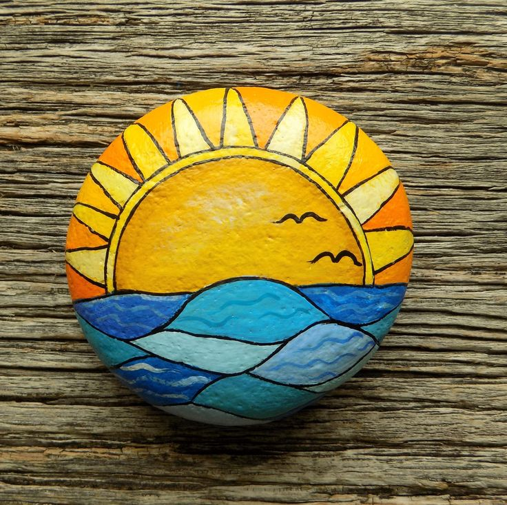 Ocean Sunset Painted Rock, Decorative Accent Stone, Paperweight