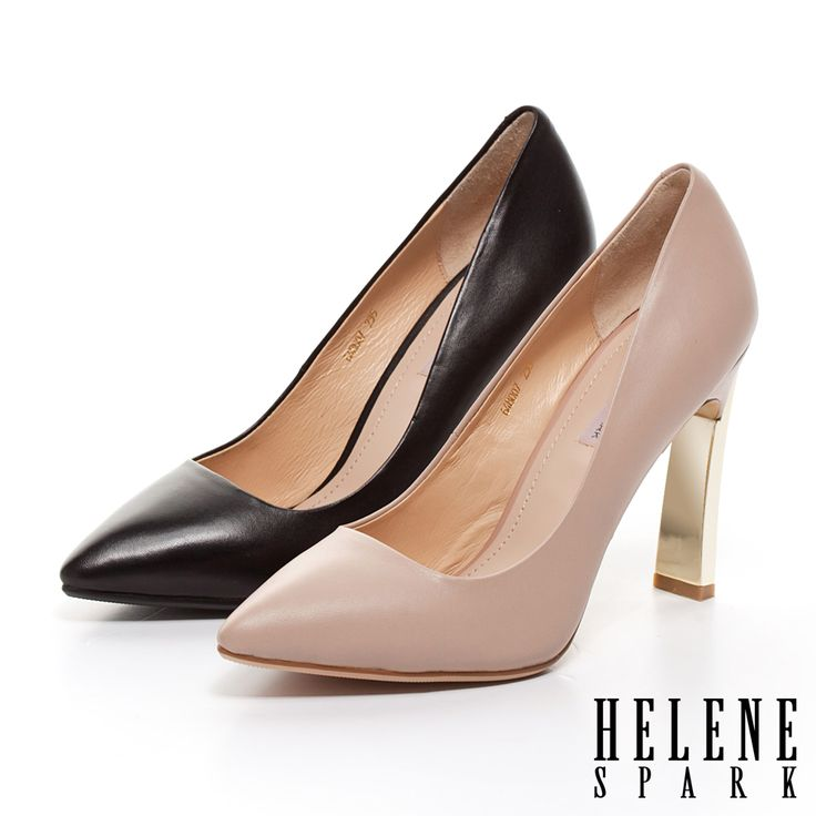 $3744.HELENE SPARK 金屬造型鞋跟羊皮尖頭高跟鞋-黑 - Yahoo!奇摩購物中心.黑剩22.22.5粉剩22.23(12/22)